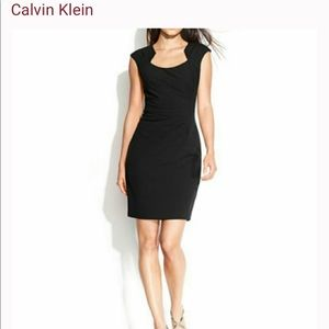 Calvin Klein's cap-sleeve side ruched sheath dress